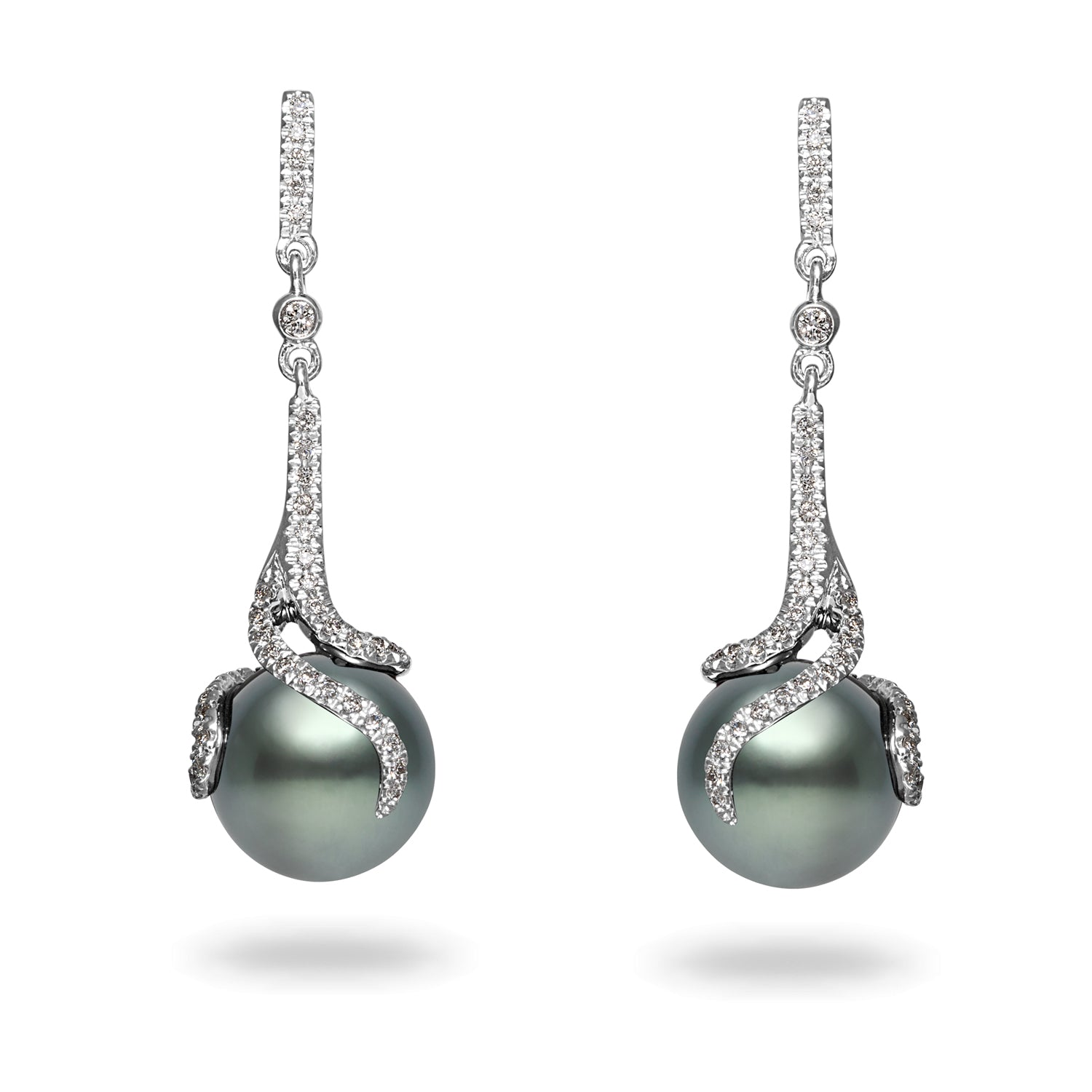 Oscar Collection 14k 10-11mm Tahitian Cultured Pearl and Diamond Earrings