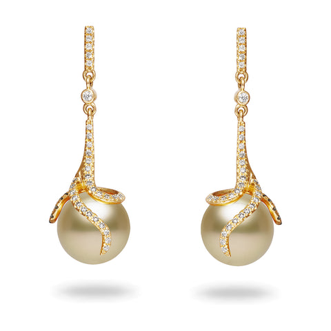 14k 10-11mm White South Sea Cultured Pearl and Diamond Earrings