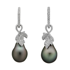Leaf Collection 14k 10-11mm Tahitian Cultured Pearl and Diamond Earrings