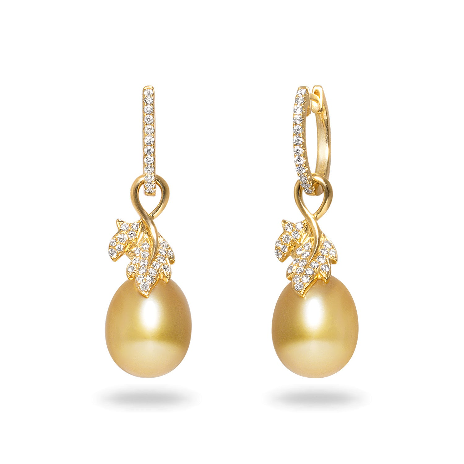 Leaf Collection 10-11mm Golden South Sea Pearl and Diamond Earrings
