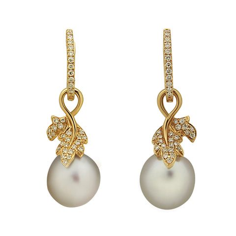 Galaxy Collection 13-14mm White South Sea Pearl & Black Rhodium Earrings