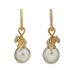Leaf Collection 10-11mm White South Sea Pearl and Diamond Earrings