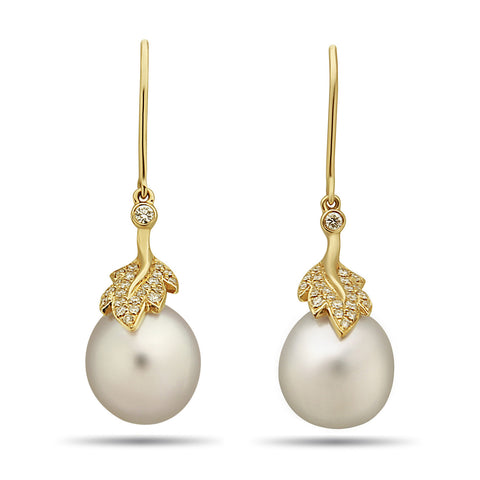 8mm Akoya Pearl and Diamond Stud Earring