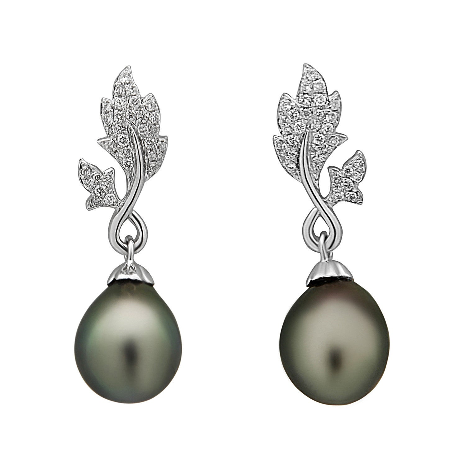 Leaf Collection 10-11mm Tahitian Pearl and Diamond Earrings