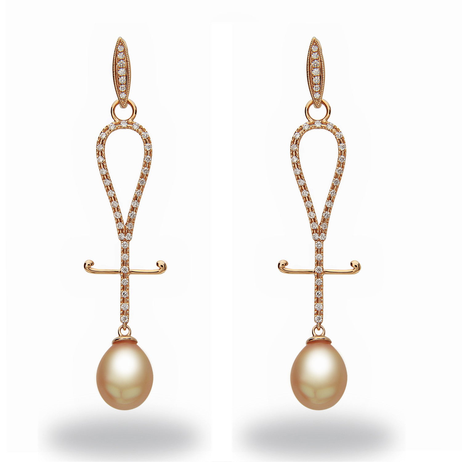 Chandelier 10-11mm Golden South Sea Pearl and Diamond Earrings