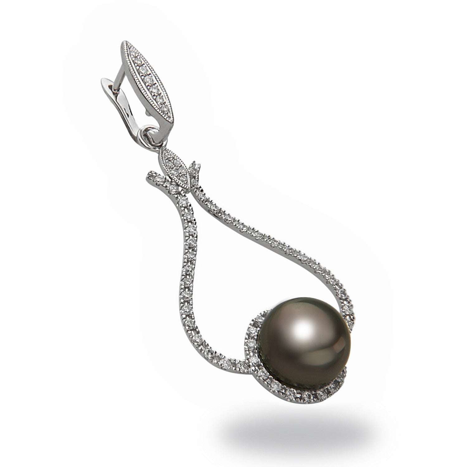 Chandelier 10x11mm Tahitian Pearl and Diamond Earrings