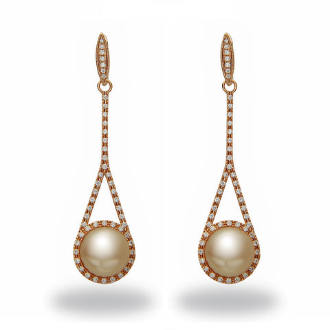 Chandelier 10-11mm Golden South Sea Pearl and Diamond Pendant