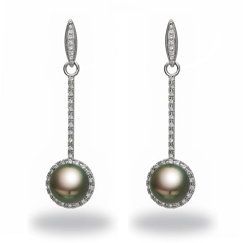 Chandelier 10-11mm Tahitian Pearl and Diamond Earrings