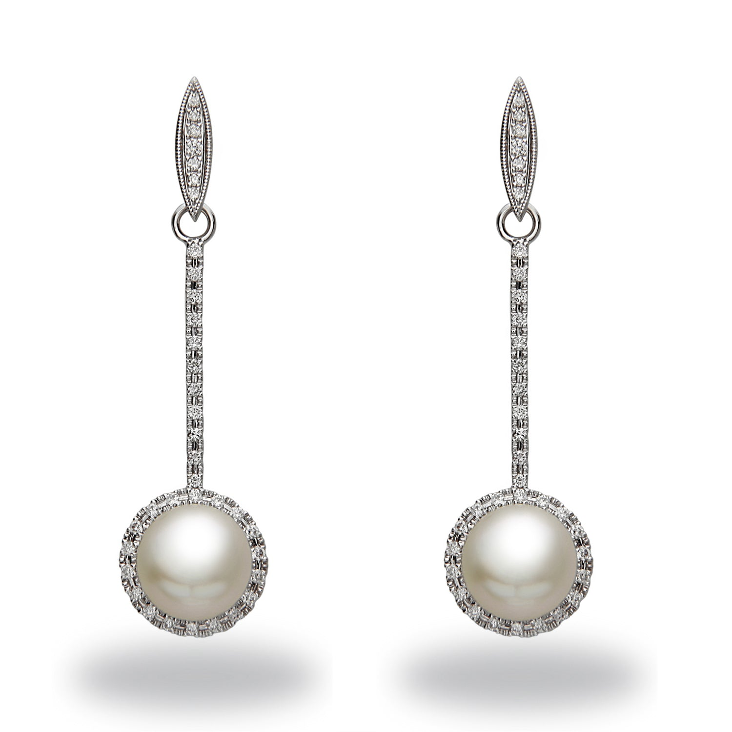 Chandelier 10x11mm White South Sea Pearl and Diamond Earrings