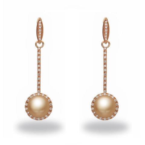 Chandelier 10x11mm Golden South Sea Pearl and Diamond Earrings