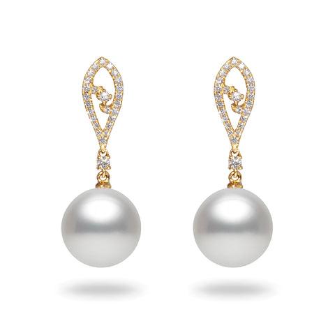 12-13mm White South Sea Pearl and Diamond Earrings