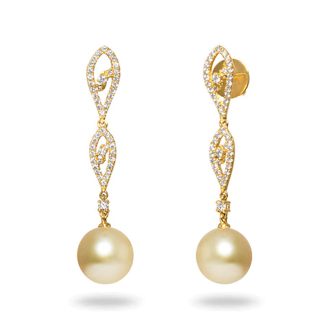 Galaxy Collection 11-12mm Golden South Sea Pearl and Diamond Pendant
