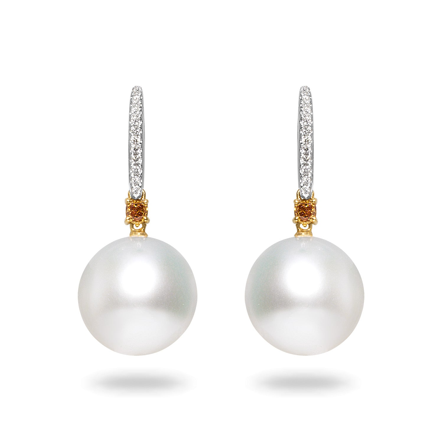 14-15mm White South Sea Pearl and Diamond Earrings