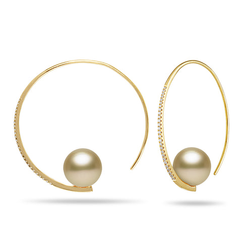 Dancing Diamond™ Collection 9-10mm White South Sea Pearl and Diamond Earrings