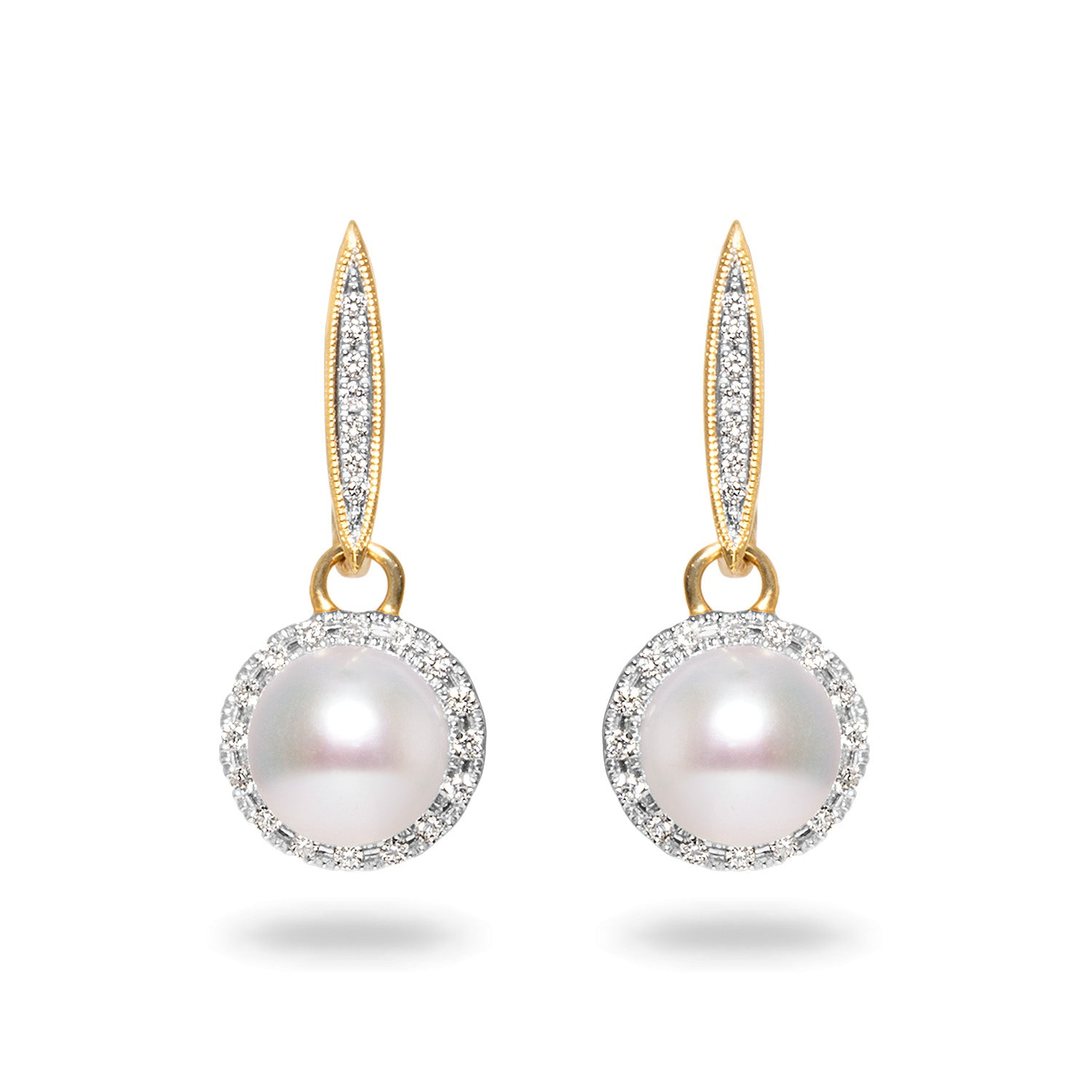 8.5-9mm Akoya Pearl and Diamond Earrings