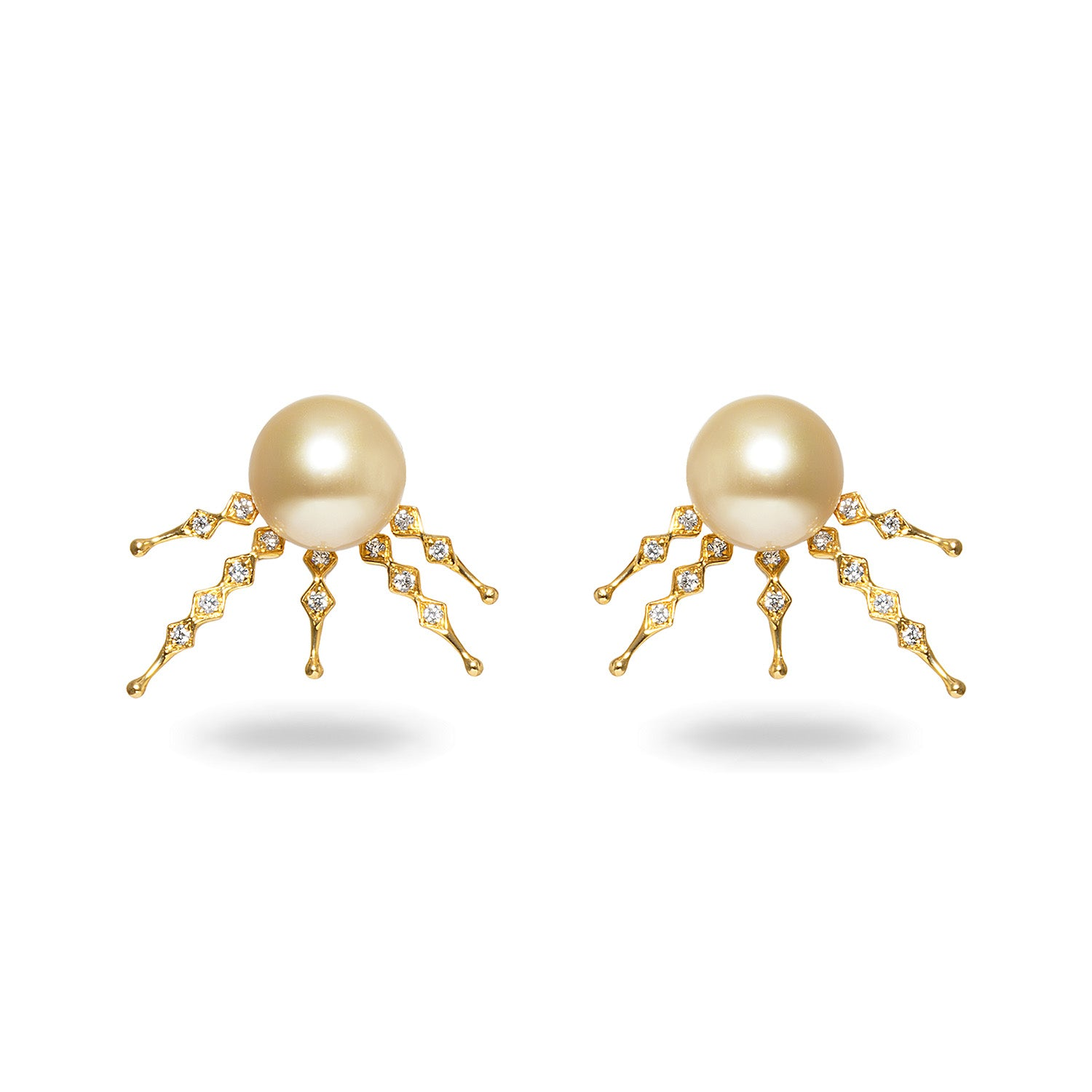 10-11mm Golden South Sea Pearl and Diamond Earrings