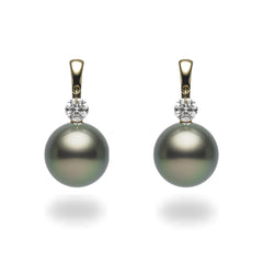 Dancing Diamond™ Collection 9-10mm Tahitian Pearl and Diamond Earrings