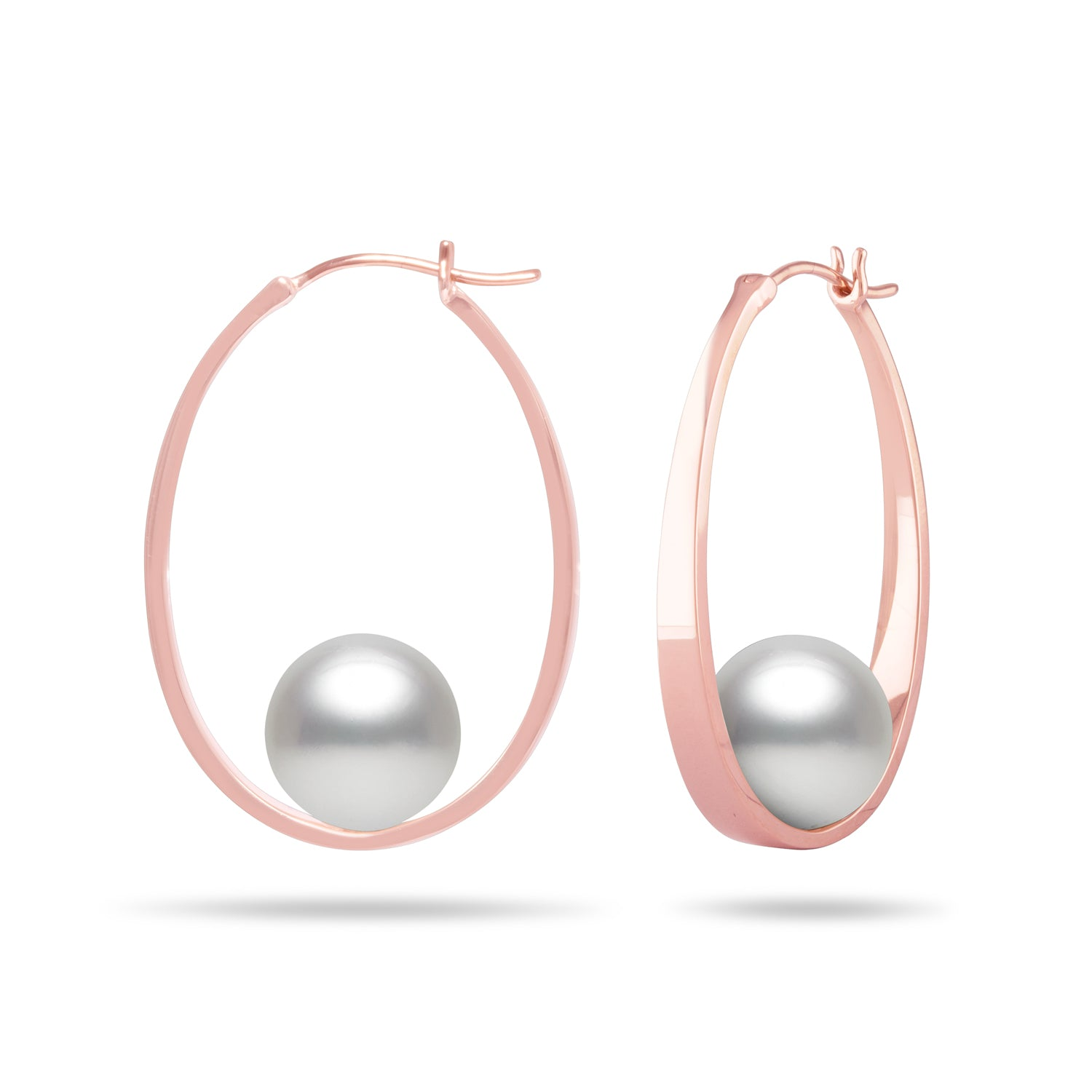 Galaxy Collection 11-12mm White South Sea Pearl Hoop Earrings