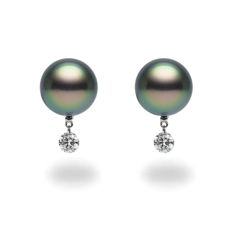 Dancing Diamond™ Collection 8-8.5mm Tahitian Pearl and Diamond Earrings
