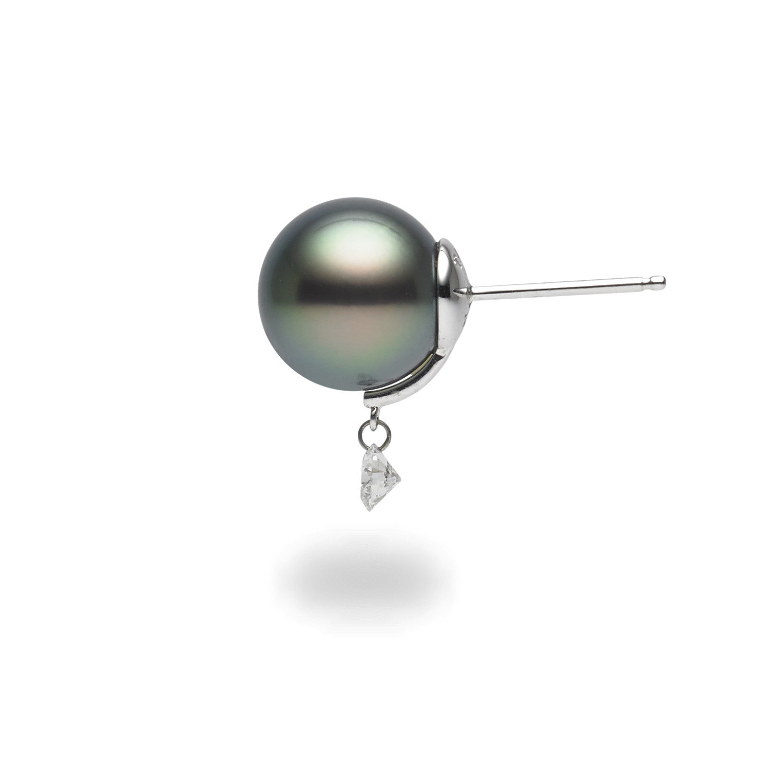 Dancing Diamond™ Collection 10-11mm Tahitian Pearl and Diamond Earrings