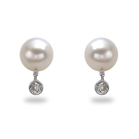 Dancing Diamond™ Collection 9x10mm White South Sea Pearl and Bezel Diamond Earrings