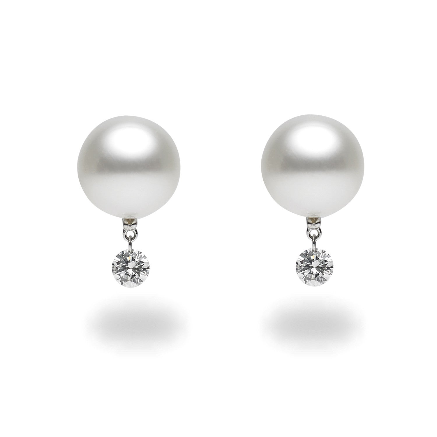 Dancing Diamond™ Collection 1011mm White South Sea Pearl And Diamond  Earrings
