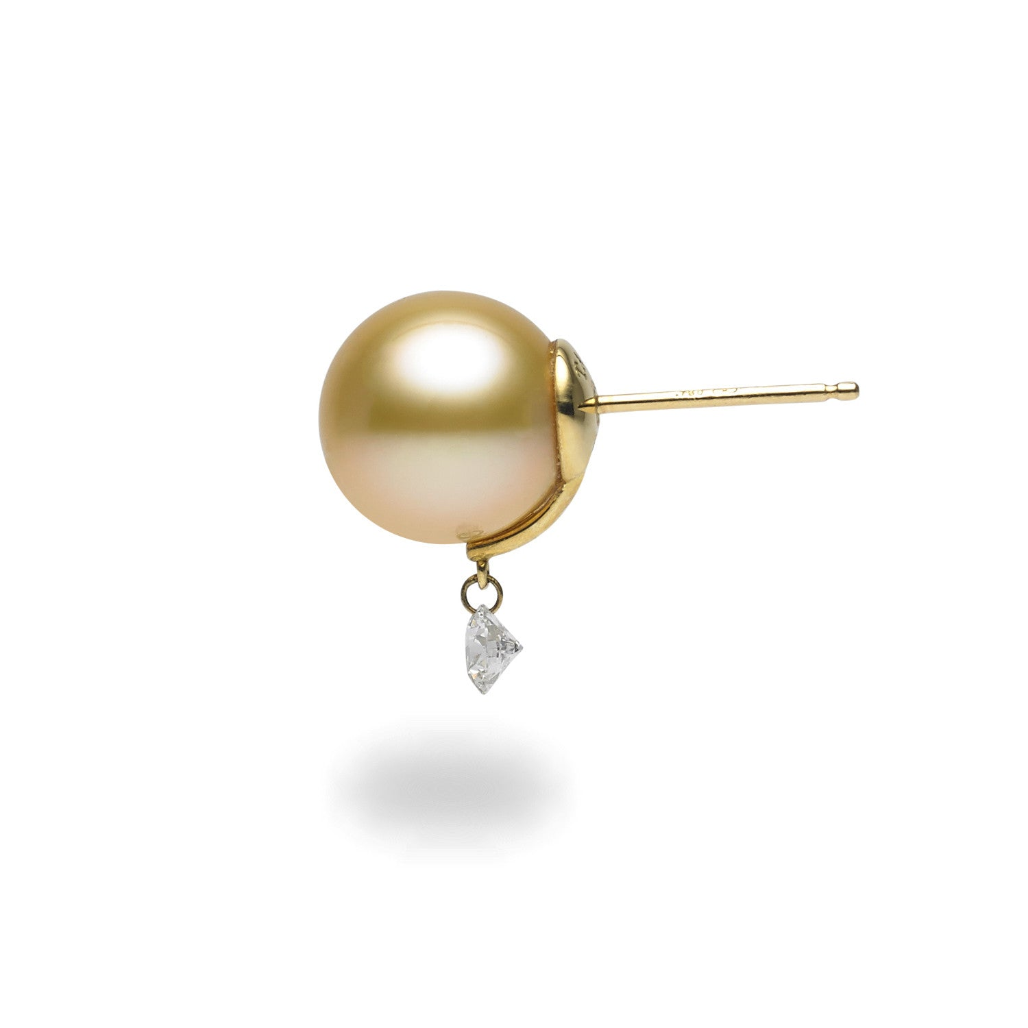 Dancing Diamond™ Collection 10-11mm Golden South Sea Pearl and Diamond Earrings