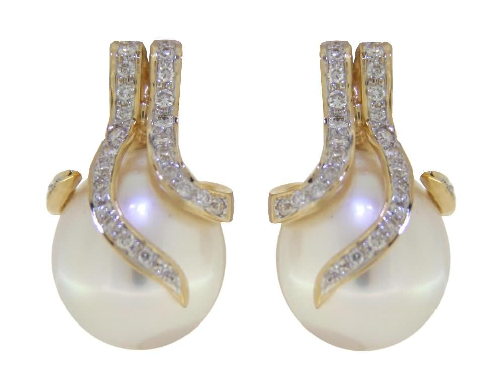 Oscar Collection 12-14mm White South Sea Pearl Earrings