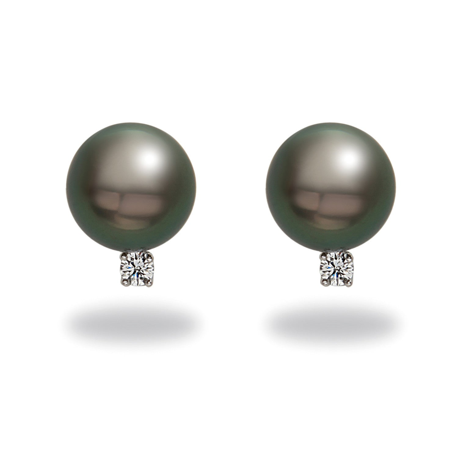 8-9mm Tahitian Pearl and Diamond Earrings
