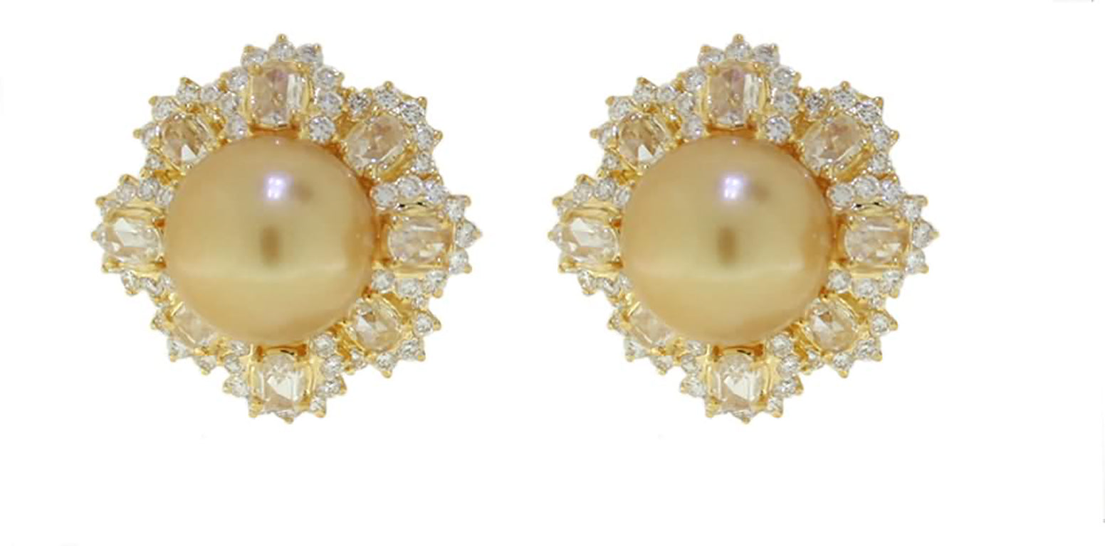 Museum 12-13mm Golden South Sea Pearl  And Diamond Earrings