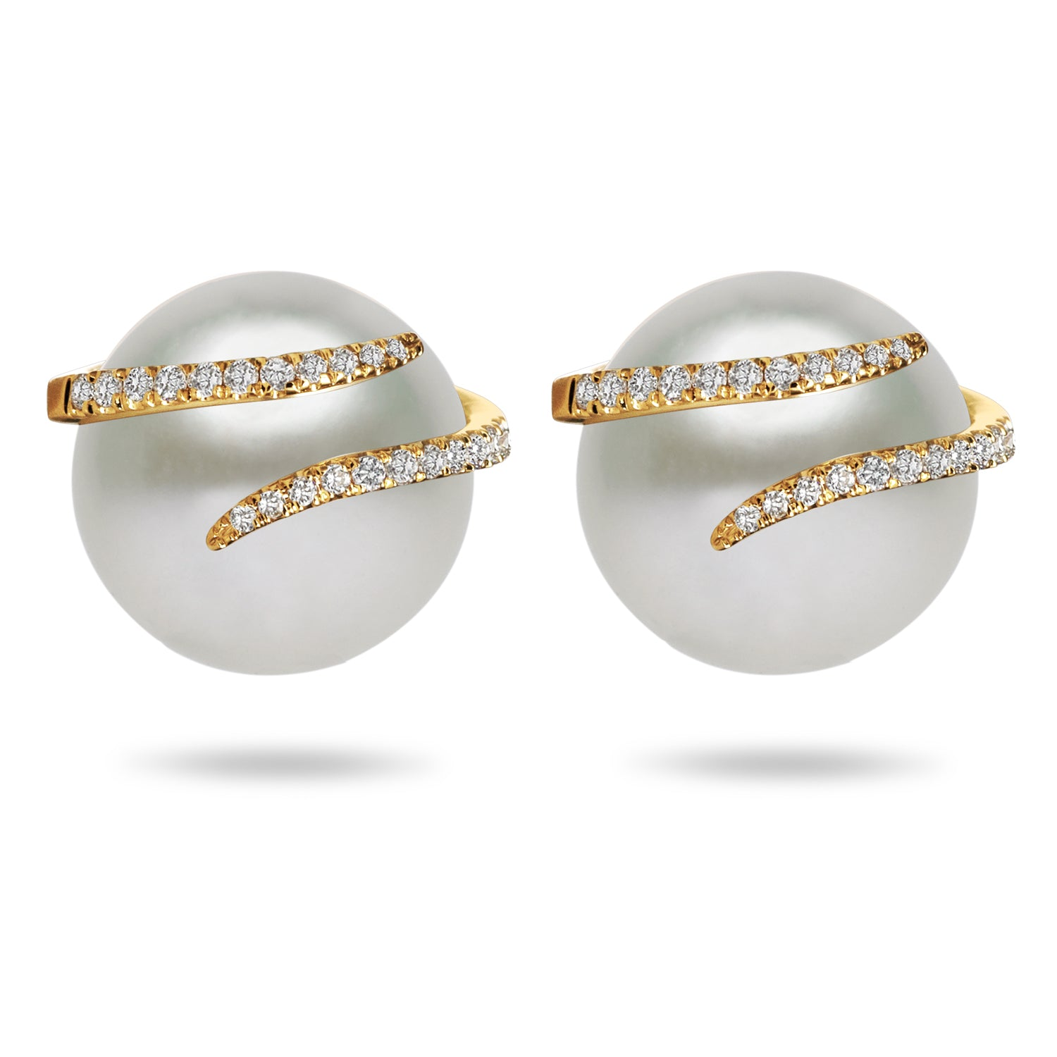 Oscar Collection  11-13mm Natural Color White South Sea Cultured Pearl and Diamond Earrings