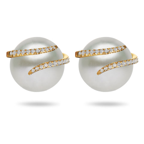 11-13mm Natural Color White South Sea Cultured Pearl and Diamond Earrings
