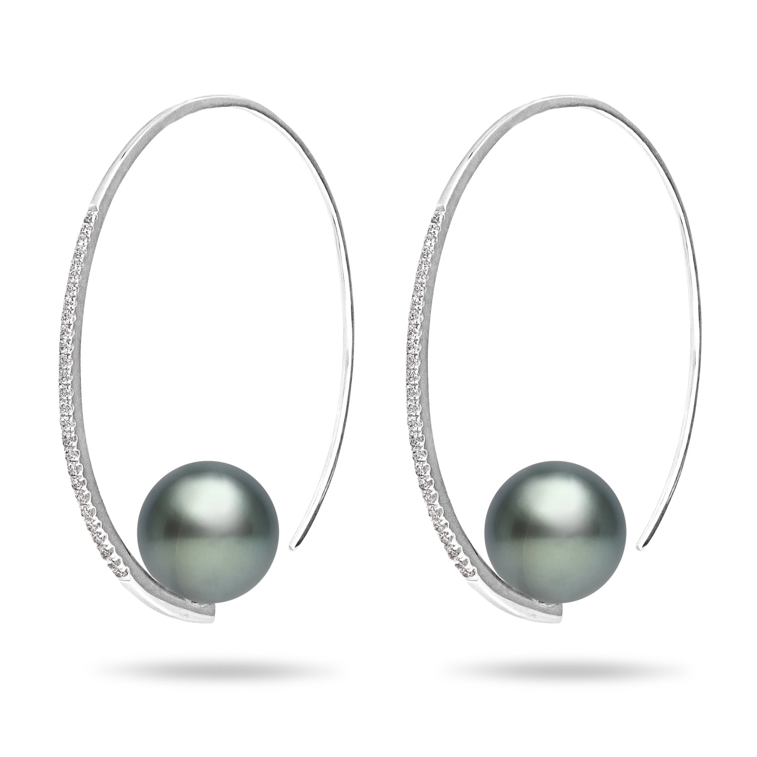 Galaxy Collection 11-12mm Large Hoop Tahitian Pearl Earrings