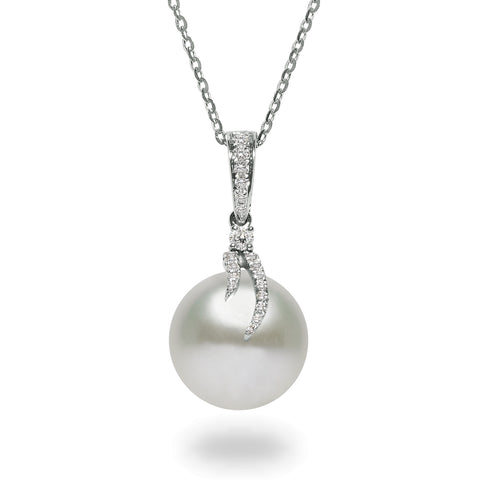 Dancing Diamond™ Collection 10-11mm White South Sea Pearl and Diamond Pendant