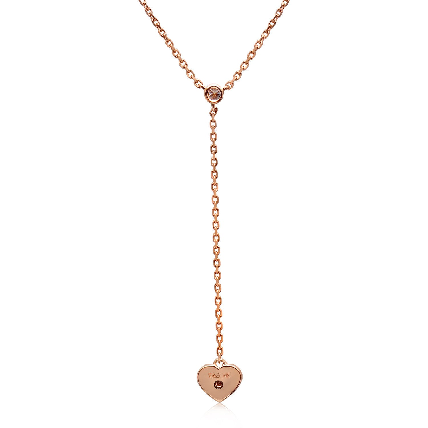BCRF 14K Rose Gold Heart Diamond Lariat Necklace