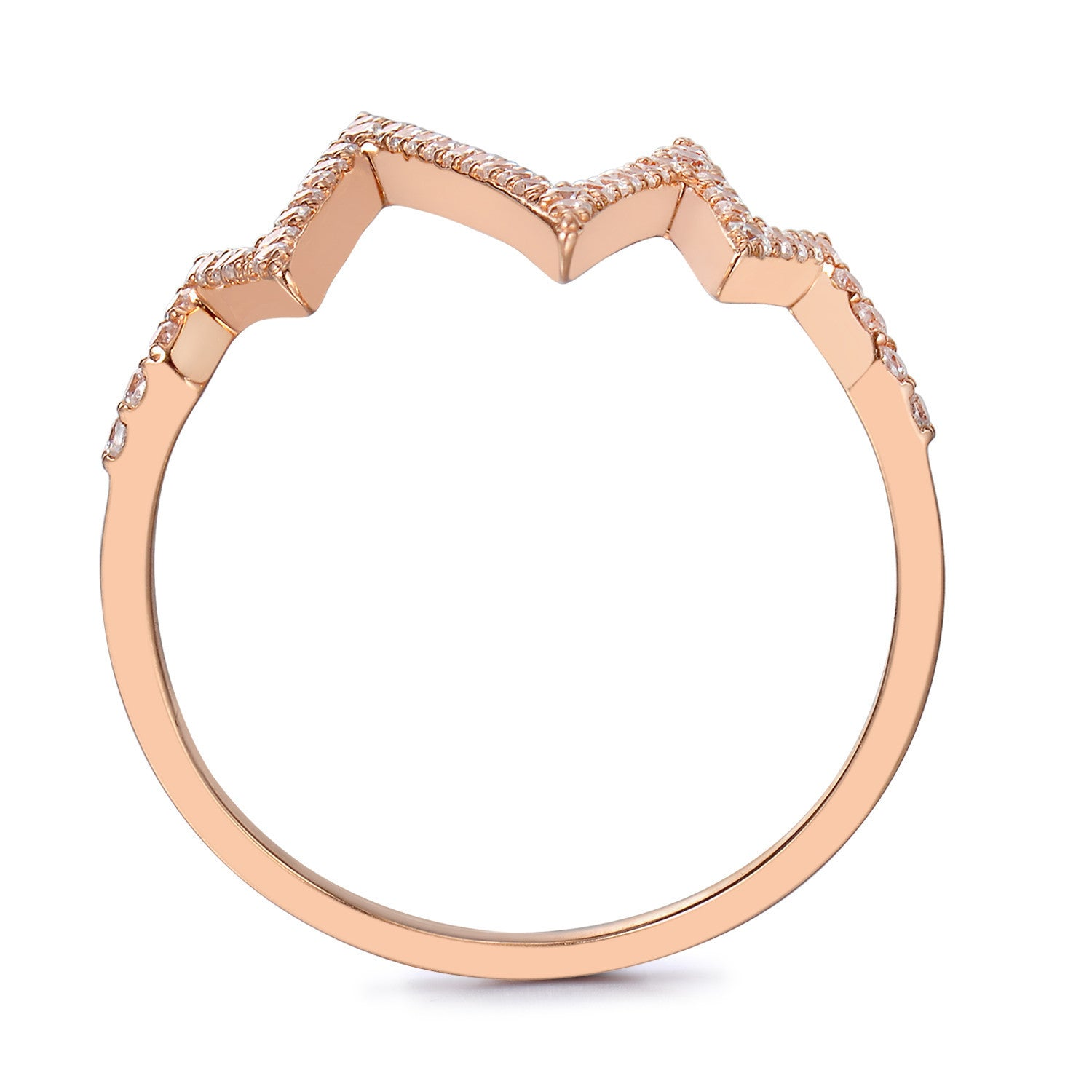 BCRF 14K Rose Gold Heartbeat Diamond Ring