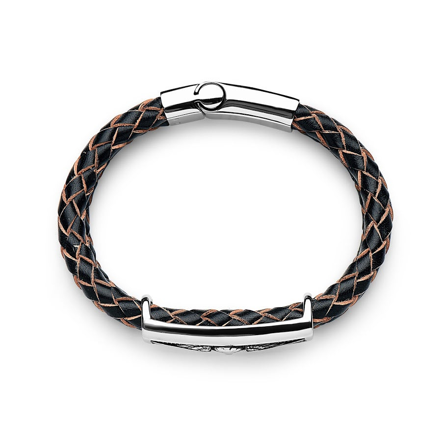 Steel Black And Natural Edge Leather Bracelet With Skull Head