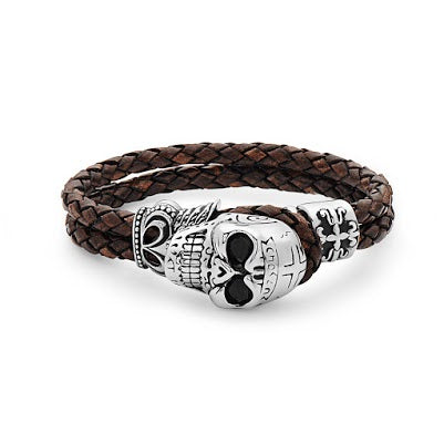 Steel Light  Brown Leather Bracelet With Skull Head