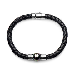 Steel Tahitian Circle pearl Black Leather Bracelet With Magnetic Clasp