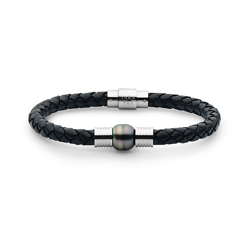 Steel Black Leather Bracelet With Magnetic Clasp