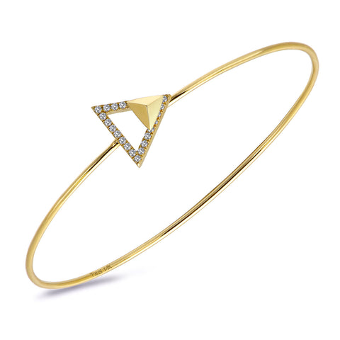 14k Gold Diamond Triangle Stud Bangle