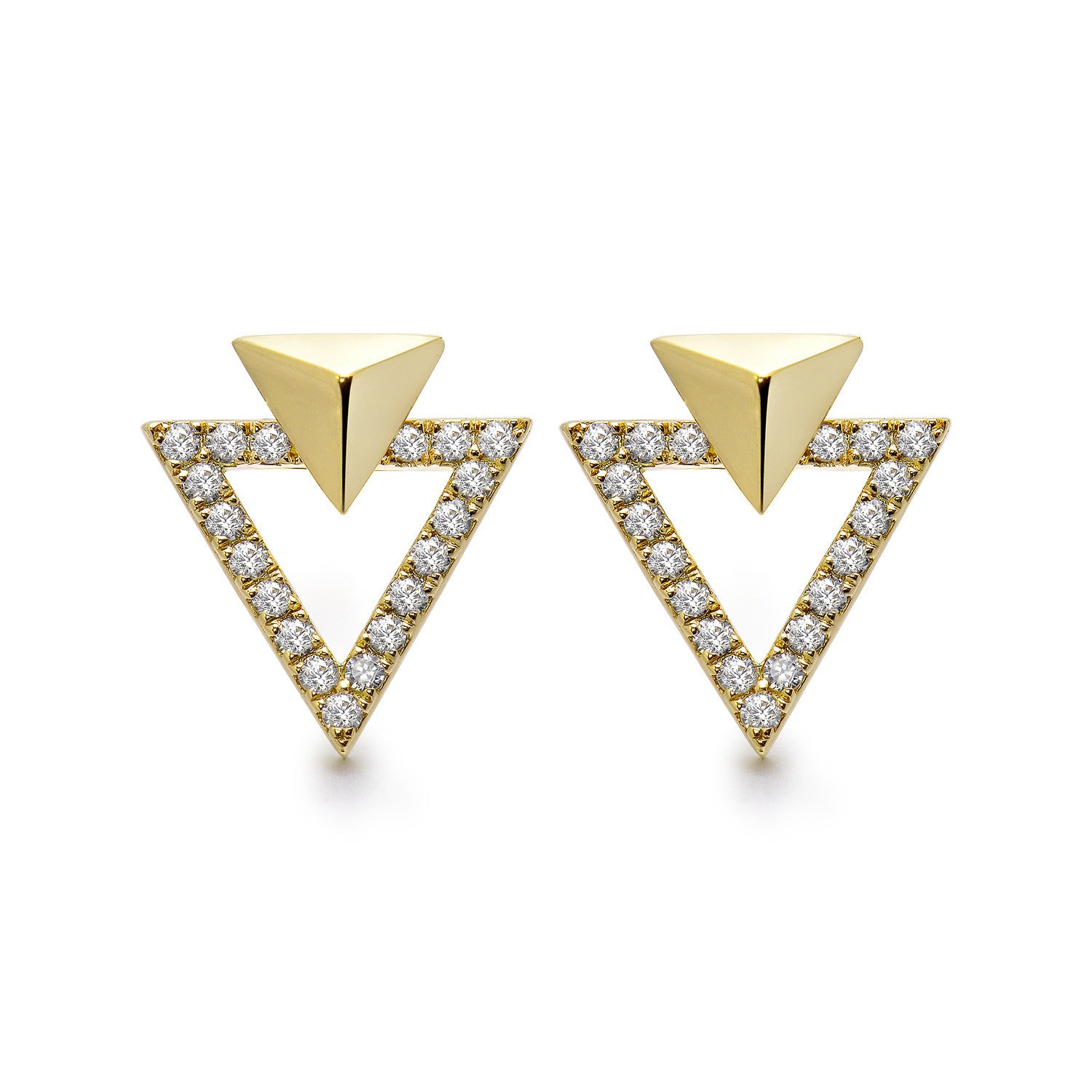 14k Gold Diamond Triangle Stud Earrings