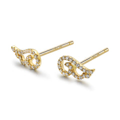 14k Gold Diamond Angel Wing Earrings