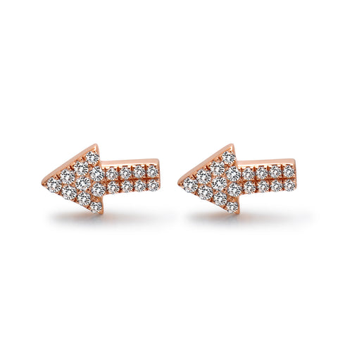 14k Gold Diamond Open Arrow Earrings