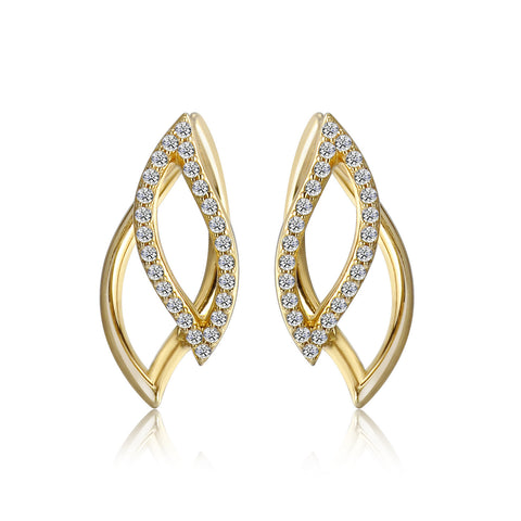 14k Gold Diamond Petal Earrings