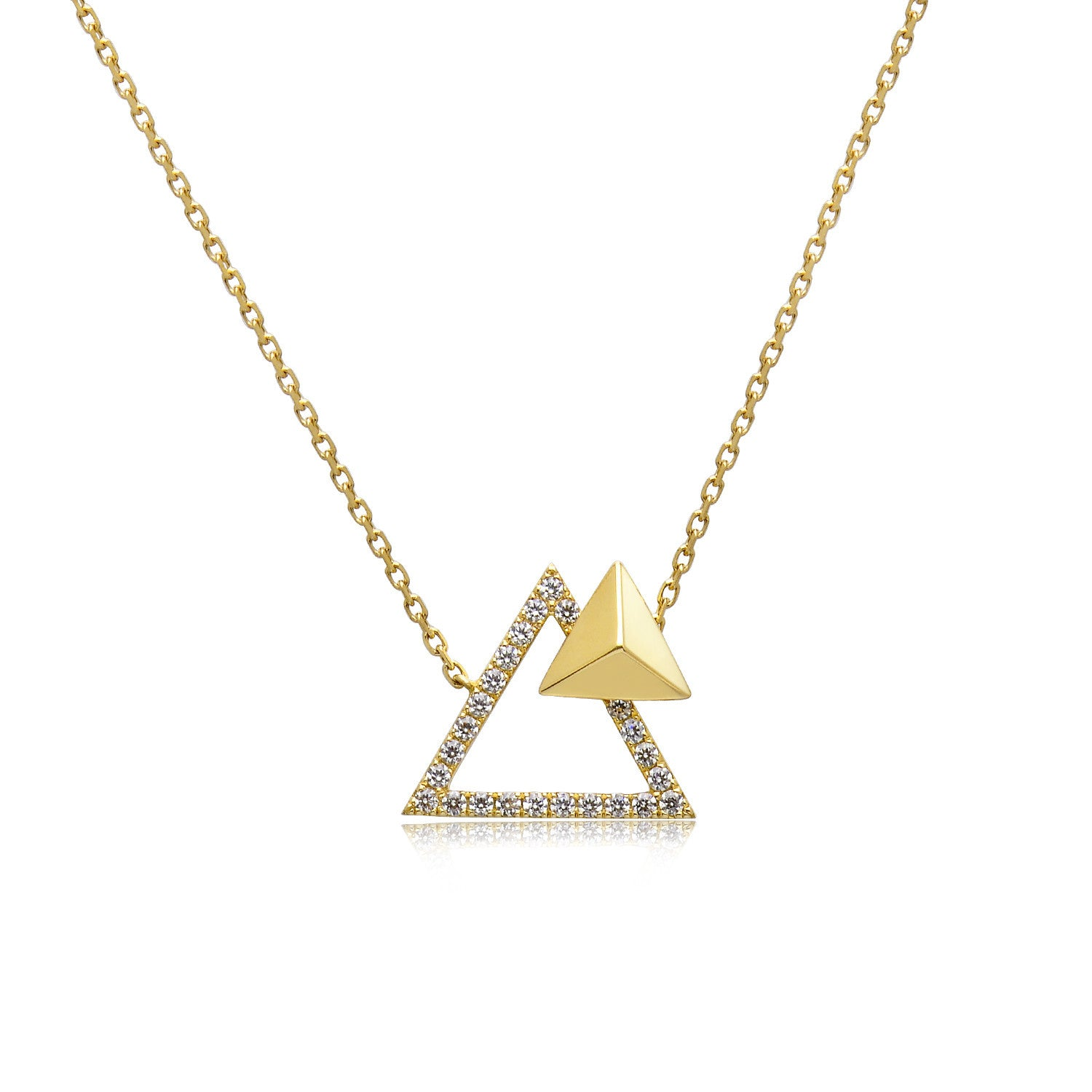 14k Gold Diamond Triangle Stud Necklace