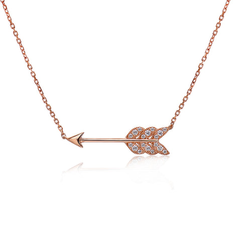 14k Gold Diamond Feather Arrow Necklace