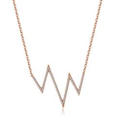 14k Gold Diamond Heartbeat Necklace
