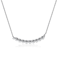 14k Gold Diamond Feather Bar Necklace
