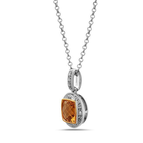 Silver & 14K Gold Gemstone And Diamond Pendant